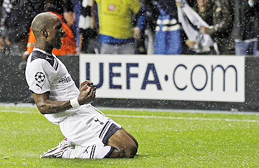 Tottenham Hotspur's Jermain Defoe celebrates after scoring against Young Boys on Wednesday