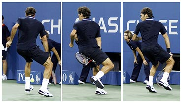 A combination photo shows Roger Federer playing between-the-legs shot for a winner
