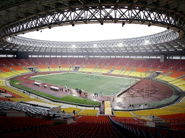The Luzhniki football stadium in Moscow