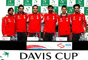 The Serbian Davis Cup team members pose for the media in Belgrade