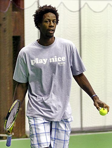 French tennis player Gael Monfils participates in a practice session of the French Davis Cup team in Belgrade
