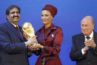 Sheikha Moza Bint Nasser al-Misnad reacts after the announcement that Qatar is going to be host nation for the FIFA World Cup 2022