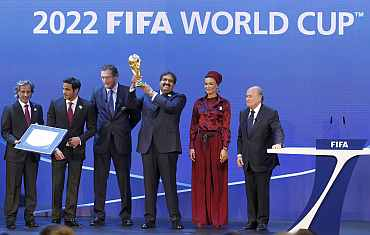 Qatar's bidding team react after the announcement that they are going to be host nation for the FIFA World Cup 2022