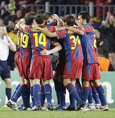 Barcelona's players celebrate Andreu Fontas' goal against Rubin Kazan