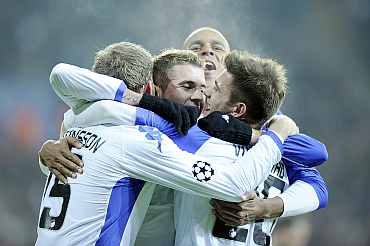 FC Copenhagen's players celebrate their victory over Panathinaikos during their Champions League Group D match at Parken stadium in Copenhagen
