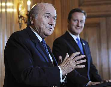 Sepp Blatter and David Cameron