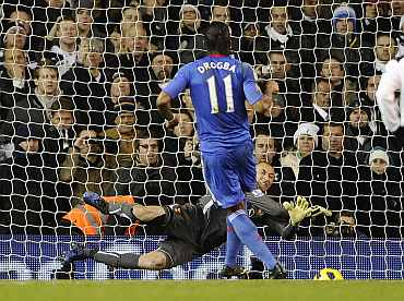Chelsea's Dider Drogba misses a penalty against Tottenham Hotspurs