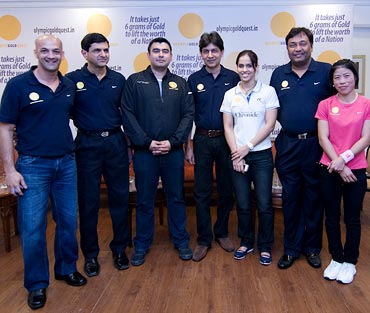 (Left to right): Viren Rasquinha, Prakash Padukone, Gagan Narang, Geet Sethi, Saina Nehwal, Niraj Bajaj and MC Mary Kom