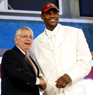 NBA Commissioner David Stern (left) with LeBron James