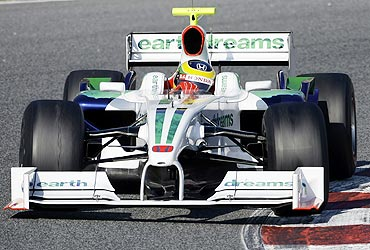 Bruno Senna in a Honda F1 car