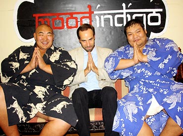 Andrew Freund (center) with Byambajav Ulambayar (left) and Naranbat Gankhuyag