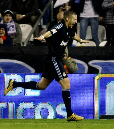 Karim Benzema celebrates his goal