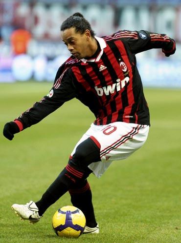 AC Milan's Ronaldinho controls the ball