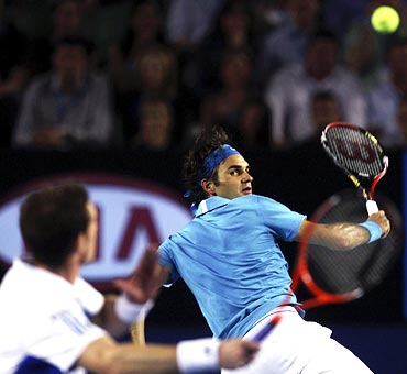 Roger Federer in action against Andy Murray in the Australian Open final