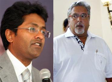 Lalit Modi (left), Vijay Mallya