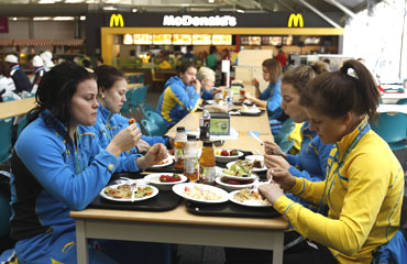 The Swedish women's hockey team have lunch at the athletes' village in Vancouver