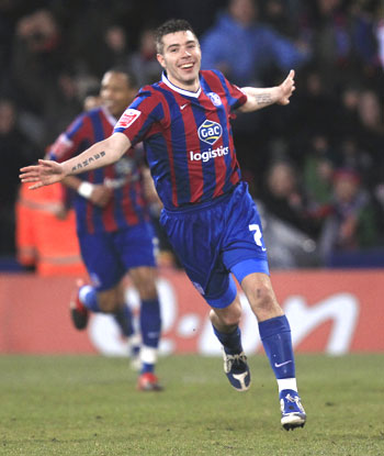 Crystal Palace's Darren Ambrose celebrates after scoring against Aston Villa during  their FA Cup tie on Sunday