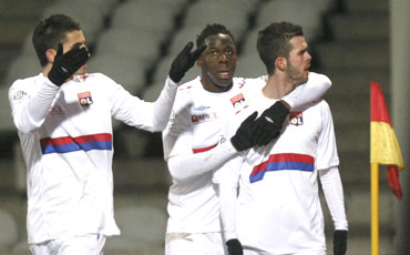Olympique Lyon players during a Ligue 1 match