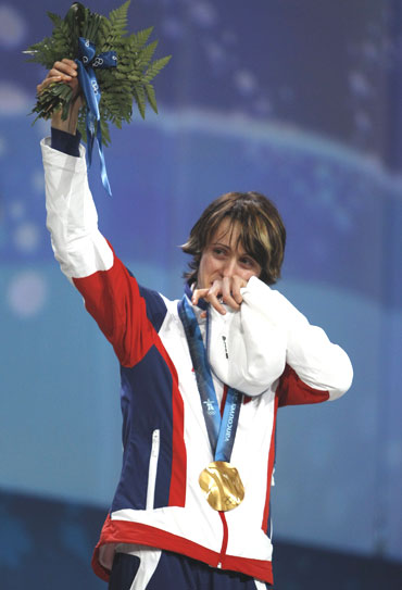 Gold medallist Martina Sablikova of the Czech Republic cries during the medal ceremony
