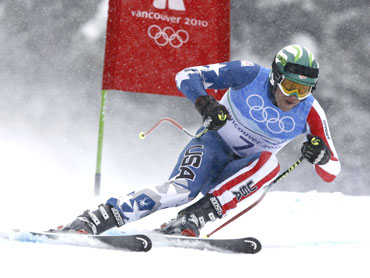Bronze medallist Bode Miller in action during the alpine skiing downhill event