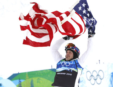 Seth Wescott of the US celebrates his gold medal-winning feat