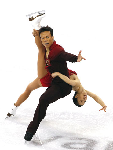 China's Shen Xue and Zhao Hongbo perform in the pairs free skating figure skating event