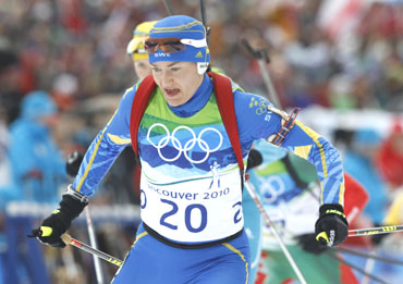 Sweden's Anna Carin Olofsson-Zidek skis during the women's 10 km pursuit biathlon final