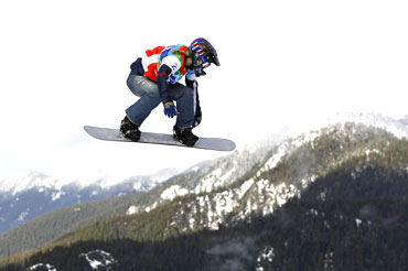 Lindsey Jacobellis of the US competes during the women's snowboard cross semifinals