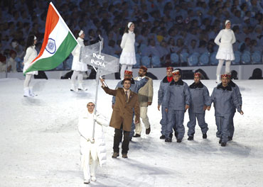 The Indian contingent during the opening ceremony of the Winter Olympics at Vancouver