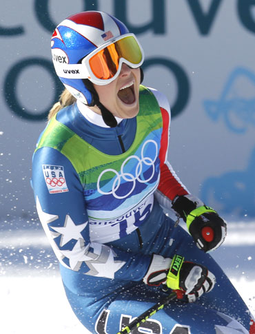 Lindsey Vonn celebrates after winning the gold in the women's Alpine Skiing Downhill race