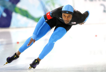 Shani Davis of the US competes in the men's 500 metres speed skating