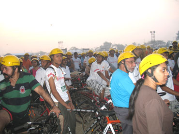 Impatient Green race participants wait for the flagging off