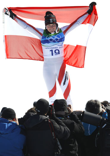 Austria's gold medalist Andrea Fischbacher after her feat