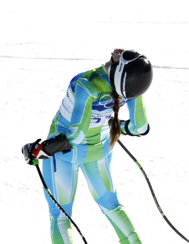Slovenia's Tina Maze is elated after finishing the women's Alpine Skiing Super-G race