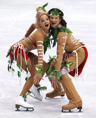 Russia's Domnina and Shabalin perform during ice dance original dance figure skating event