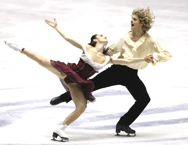 Davis and White perform during the compulsory dance