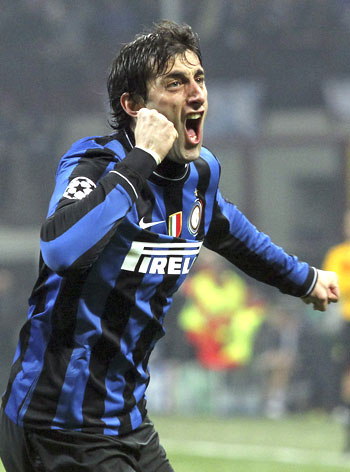 Inter Milan's Diego Milito celebrates after scoring the opening goal against Chelsea during their Champions League tie on Wednesday