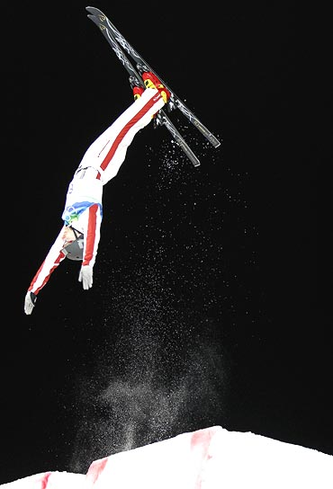 Canada's Warren Shouldice competes in the men's aerials freestyle skiing final at the 2010 Winter Olympics
