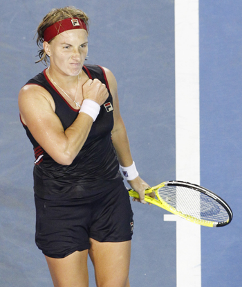 Russia's Svetlana Kuznetsova celebrates after winning against Germany's Angelique Kerber.