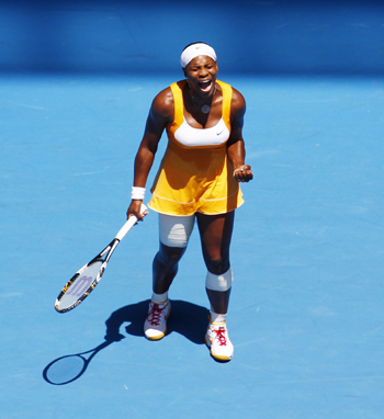 Serena Williams reacts during her match against Carla Suarez Navarro.