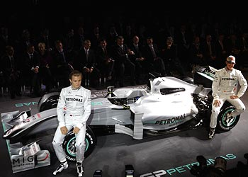Nico Rosberg (left) and Michael Schumacher