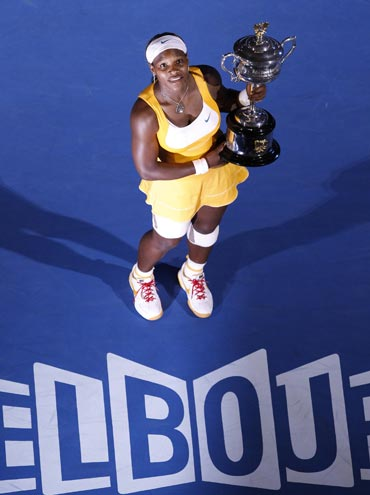 Serena Williams with the Australian Open Trophy