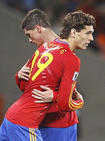 Fernando LLorente comes in for Fernando Torres during the game against Portugal