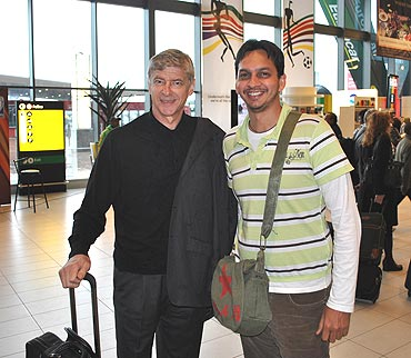 My friend Vishal with the Arsenal coach