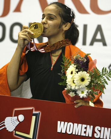 Saina after winning the Indonesian Open