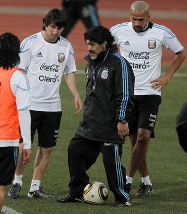 Diego Maradona during a training session with the team
