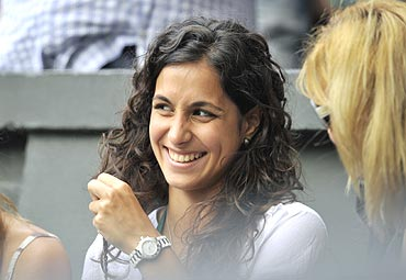 Rafael Nadal's girlfriend Maria Francisca Perello watches the match