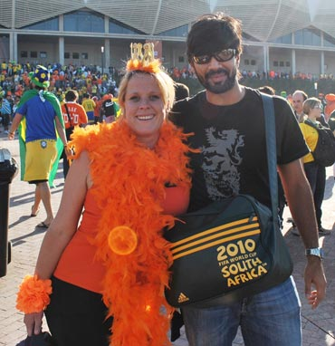Dutch fan dressing up on the grounds of the Nelson Mandela Bay stadium