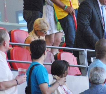 Paris Hilton too was glued to the match