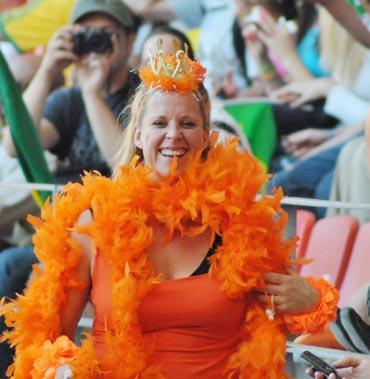 A Netherlands fan celebrates a goal
